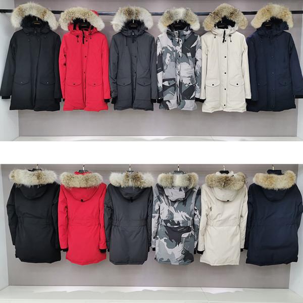 Pelliccia di lupo Canadese di marca femminile Designer Parka Piumino Spessore caldo antivento Sezione lunga Piumino sottile Piumino d'oca invernale Cappello Jaqueta Free