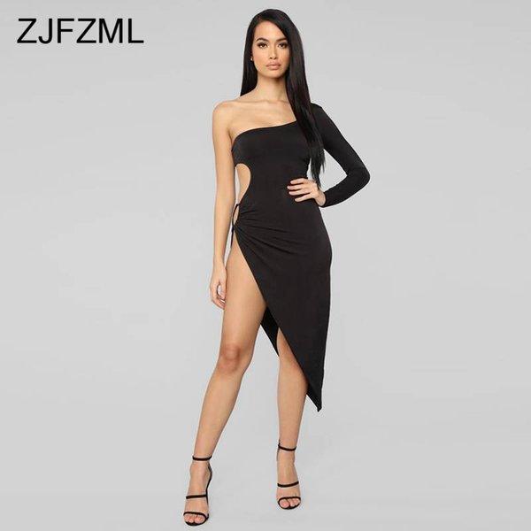 Бальное платье с полым вырезом Sexy Club One Shoulder Черное нерегулярное платье Узкие спинки скинни с высоким разрезом Элегантные платья Robe Femme