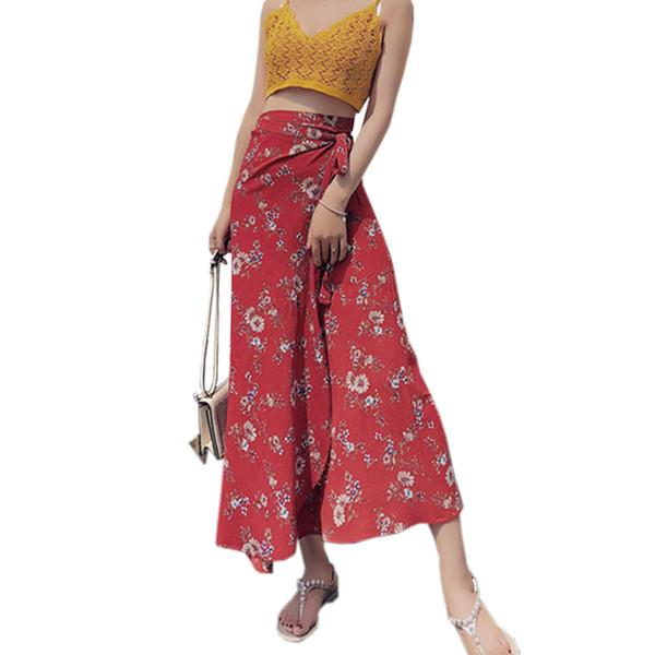 Floral Print Chiffon Women's Skirt 2019 Summer Women Clothes Beach Skirts Bohemian Long Skirt Red Ruffle Lace-up Wrap Maxi Skirt MX190717