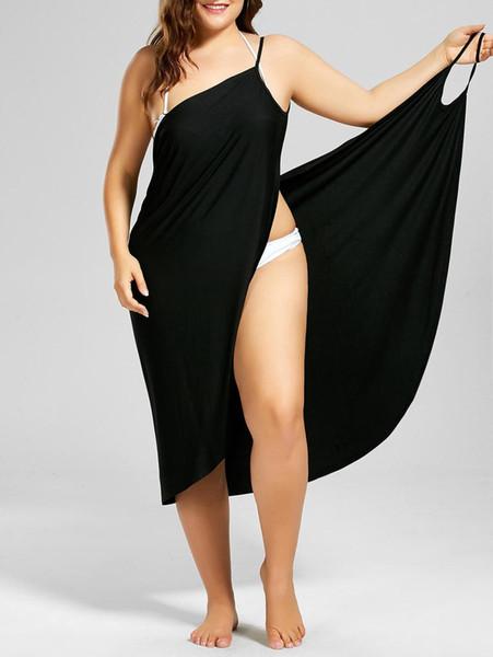 Wipalo Women Plus Size Beach Wrap Mini Dress Sexy Lose Backless Beach Dress Spaghetti Strap Slit Women's Vestidos Y19070901