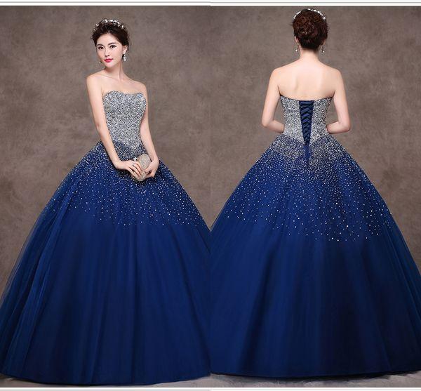 Abiti da ballo di sfera di colore di alta qualità Prom Dresses 2019 New Wipes Tulle Paillettes Show Dresses Abiti da sera sposa blu navy DH1618