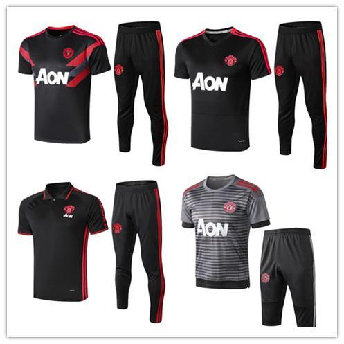 2019 20 manchester terno de treinamento de futebol dos homens de futebol jerseys sportswear UNITED pé preto camisas 18 19 20 kit de camisa polo