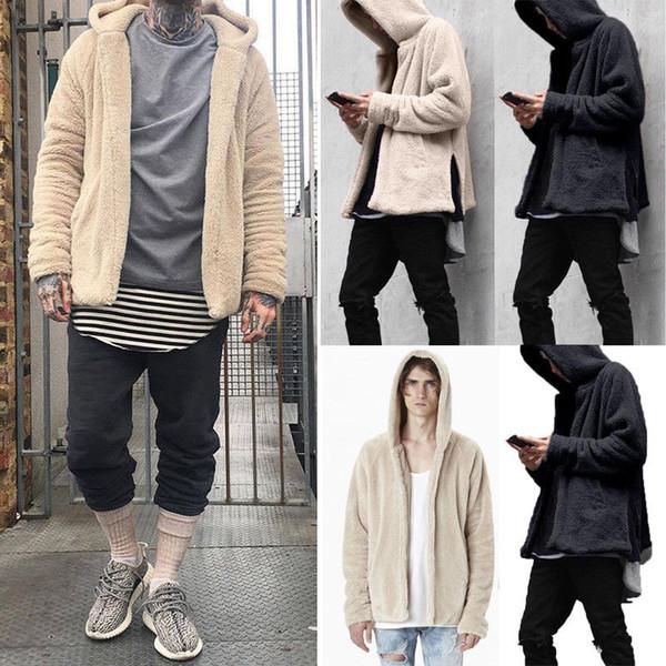 Fashion Men Fur Lined Winter Hoodie Wool Coat 2019 New Solid Thick Sherpa Fleece Hooded Outwear Coat M-3XL