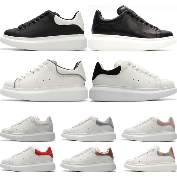 Designer Luxury white leather casual shoes for girl women men black gold red fashion comfortable flat sneakers size 35-44