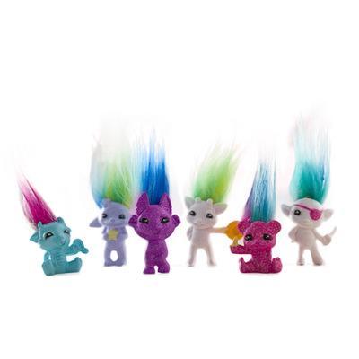 kalem kapağının ile Renkli Saç 4cm Karikatür trol bebek plastik çirkin bebek sihirli saç trol Retro bebek bebek dekorasyon nokta oyuncak