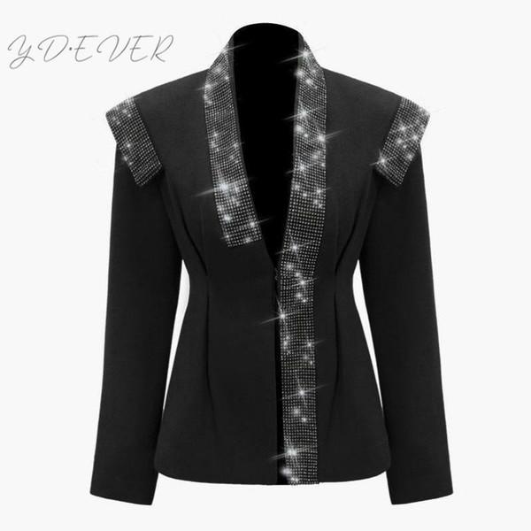 Femmes Blazer Diamant Femmes Blazers À Manches Longues Manches Longues Femmes Jaket Mince Dames Blazer Veste Manteau Hiver L309