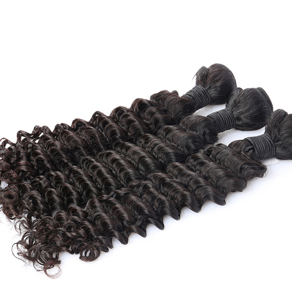 Deep Wave Bundles Brazilian Hair Weave Bundles 100% Human Virgin Hair Extension One Piece Natural Black Color Dolago