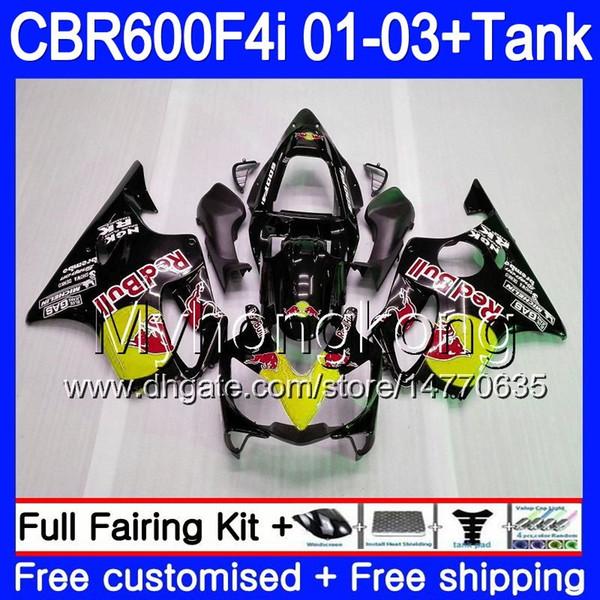 Body +Tank For HONDA CBR 600F4i CBR600FS CBR600F4i 01 02 03 286HM.57 CBR600 F4i 600 FS CBR 600 F4i 2001 2002 2003 Fairings Yellow red hot
