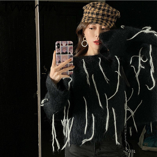 Mohair Pullover Frauen O Hals Langarm Patchwork Quasten Kurz Stricken Pullover Tops Weibliche 2019 Frühlingsmode E290