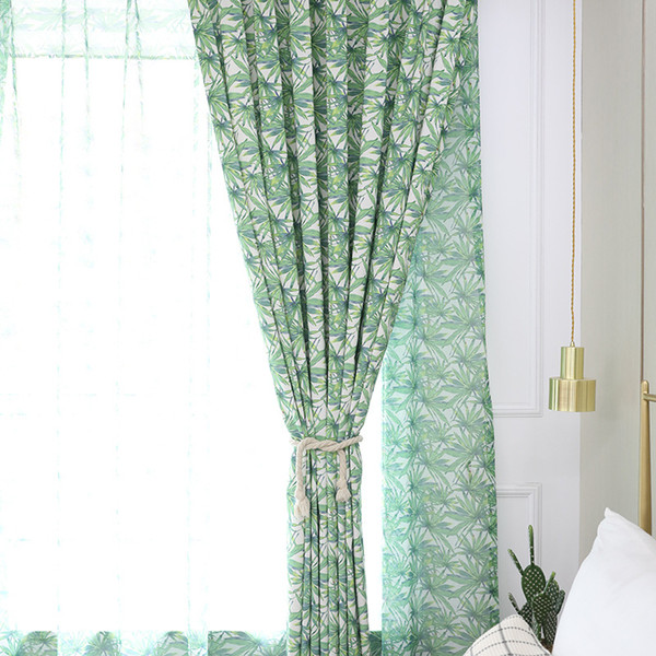 2019 Blackout Curtains For Living Room Bamboo Leaves Pattern Window  Printing Blackout Curtain For Kitchen Bedroom Window Decorative Fabric From  ...