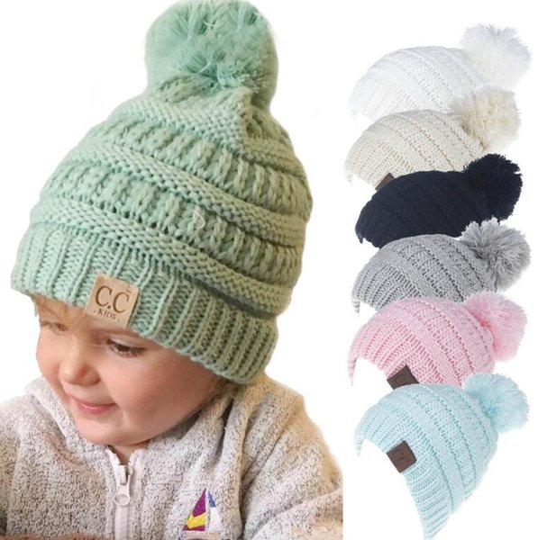 c4c32087b4c new CC Beanie hat Kids Knitted Hats girls Chunky Skull Caps Winter Cable  Knit Slouchy Crochet