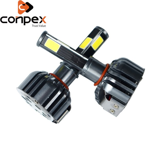 2pcs car headlight bulbs led 12v h4 h7 9003 led canbus car lights two ways vortex air cooling system four sided lamp beads