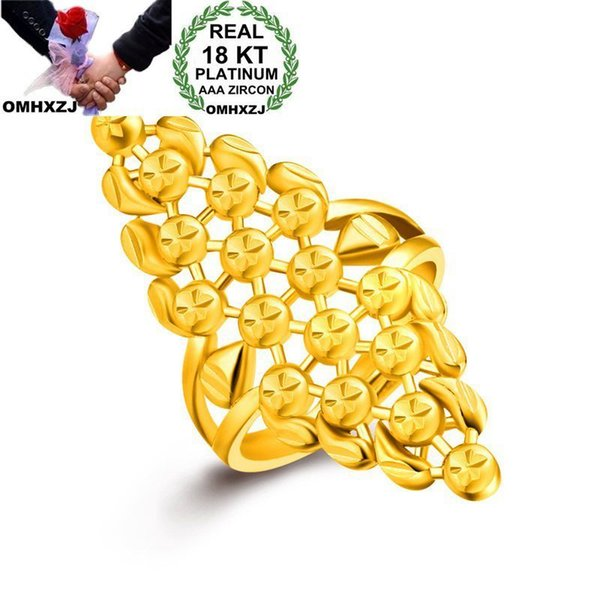 OMHXZJ Wholesale Personality Fashion OL Woman Girl Party Wedding Gift Gold Geometry Hollow Wide 18KT Yellow Gold Ring RN03