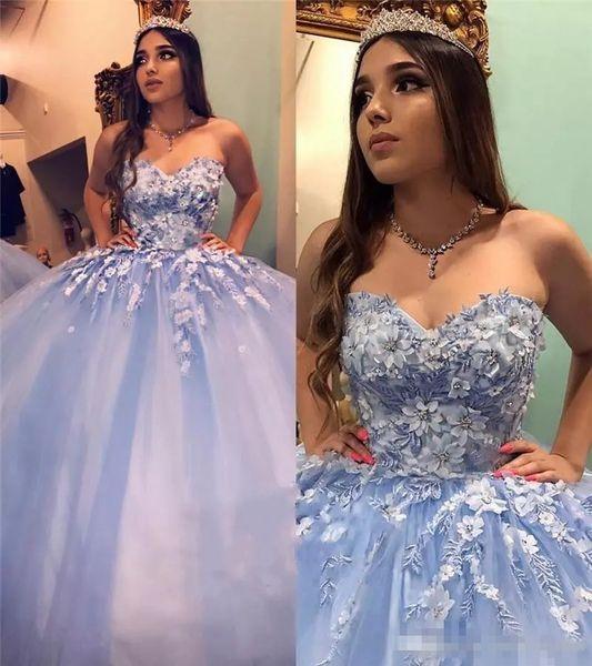 Masquerade Sweet 16 vestido de bola Vestidos de quinceañera 2019 Vintage Lace 3D Floral Cinderella con cuentas Vestidos árabes De 15 Anos Vestidos de fiesta de baile