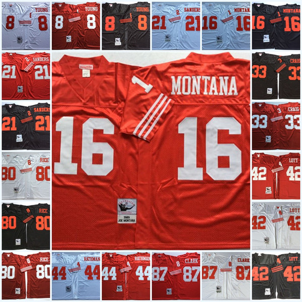 Vintage, Steve Young, Joe, Montana, Deion, Sanders, Roger, Craig, Ronnie, Lott, Tom, Rathman, Jerry, arroz, Dwight, Clark, vindima, 75TH, jersey