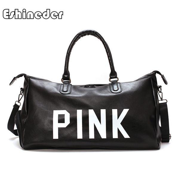 0ad371806e02 ESHINEDER Pink Letter New Red Черный Pu Спортивная сумка Lady Большая спортивная  спортивная сумка с кожаной