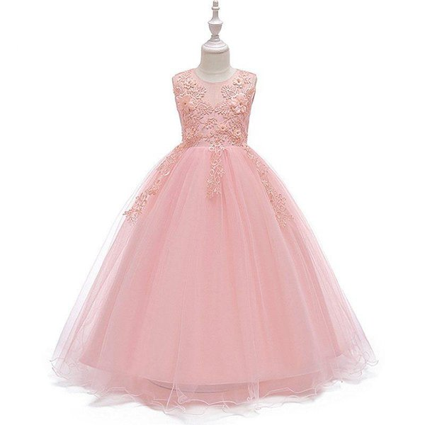 4-14T Teenage Girl Dress Summer Sleeveless Flower Prom Evening Party Gown Pageant Princess Wedding Frock Kids Clothing