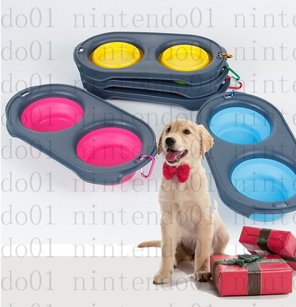 2019 pet Collapsible Feeding Food Bowls Silicone 4 Colors portable for cat and dog food supplies