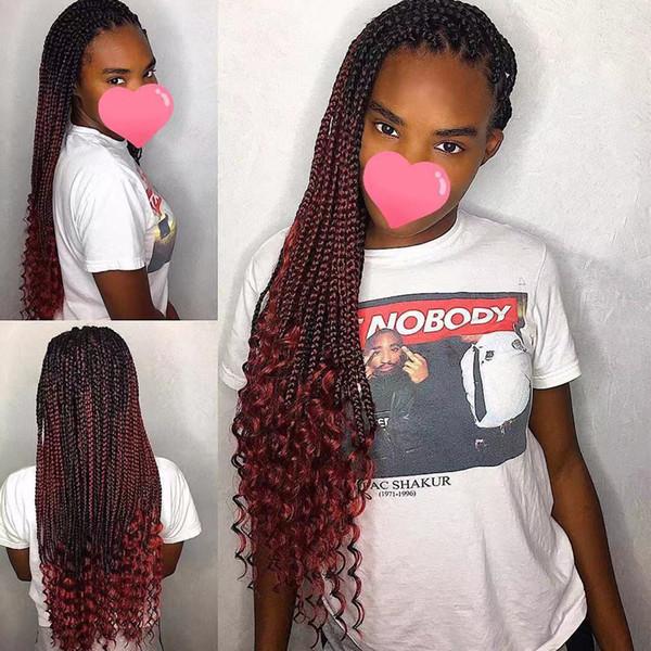 Peluca trenzada delantera de micro encaje de color rojo Ombre con rizo pelucas delanteras de encaje sintético resistente al calor con cabello de bebé para mujeres afroamericanas