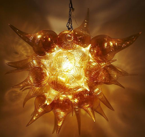 Modern Amber Hand Blown Glass Chandelier Dining Room Bubble Shape Mini Bedroom Dining Room House Decoration