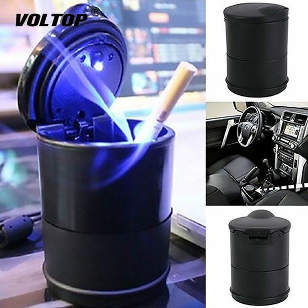 LED Cendrier Portable Cendrier Intérieur de voiture Accessoires de bureau Camion Porte-gobelet Cigarette électrique sans fumée Cendrier Case