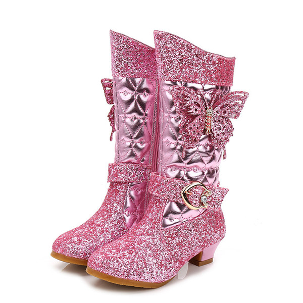 Stivali con strass a metà polpaccio per ragazze Nuovi stivali da principessa per bambini Scarpe da festa per ragazze di moda Scarpe da sera per feste