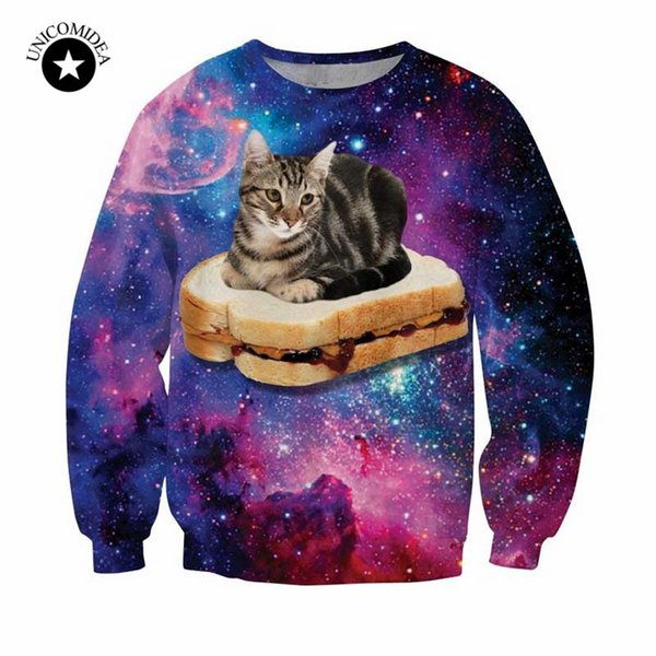 New harajuku style galaxy space cat sweatshirt 3d printed hoodies cute animal pattern funny cat sit on hamburger hoodies