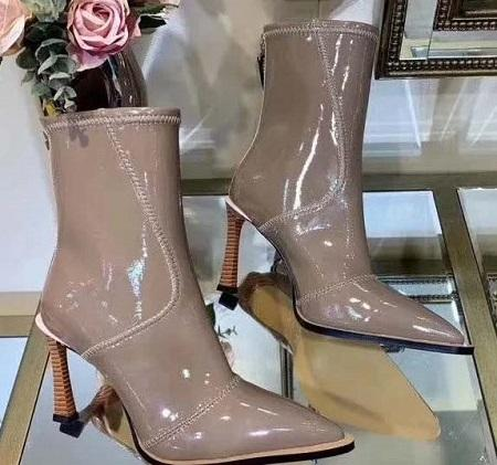 2019 Hot Sale Wedges Knee-high Women Boots Pointed Toe F Brand Design Mixed Color Leather Heel Long Boots European Style Fashion Show f1