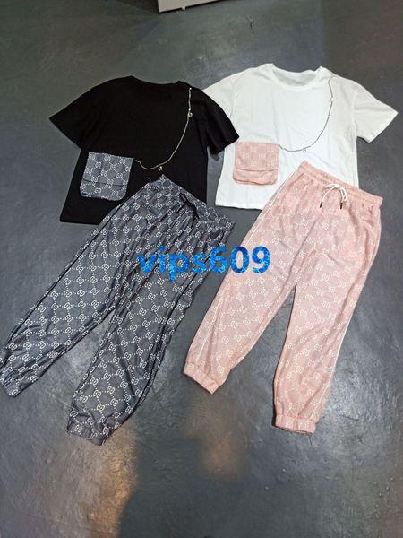 Mujeres de alta gama Pantalones de traje con cuello redondo con letras impresas con tops de manga corta y letras impresas Pantalones casual Pantalones de mujer Traje