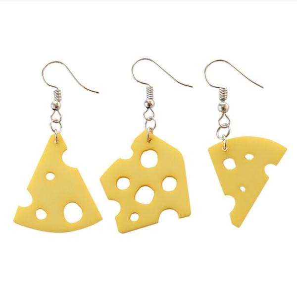 designer jewelry cheese charm earrings cream cheese shape pendant earrings geometry simple earrings for women hot fashion