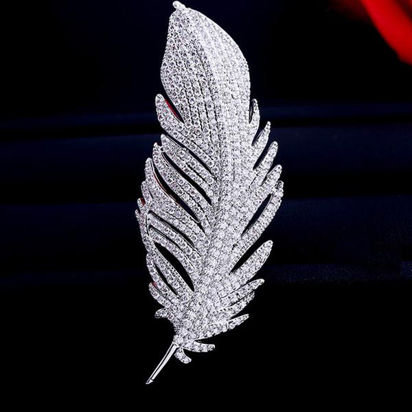 2019 moda europea e americana nuove donne zircone piuma spilla tuta spilla semplice spilla accessori spedizione gratuita