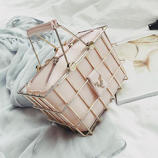 Diseñador de moda bolsos de las mujeres 2018 Nueva PU de cuero de alta calidad bolso de las mujeres Cesta de hierro bolsa cuadrada Mensajero del hombro