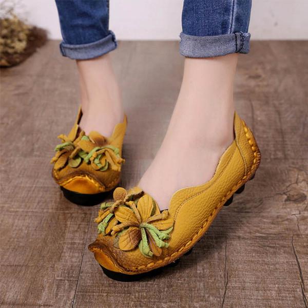 2019 femmes Souliers véritables dames Chaussures en cuir fleur Mocassins Chaussures De Mujer Talon Femme