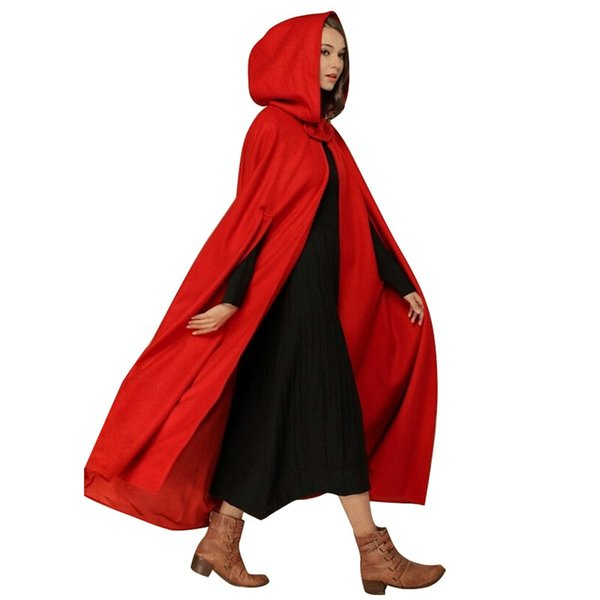 2019 Autumn Winter Coat Women Vintage Hooded Cloak Sleeveless Button Closure Thin Hooded Long Cape Costume Halloween Cosplay Top
