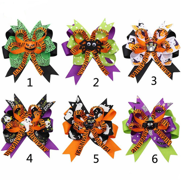 4.5''Halloween Hair Bows for Girls Designed Hair Clip Pumpkin Ghost Patches Hairpin Festival Party Kids Hair Accessories Wholesale FJ618