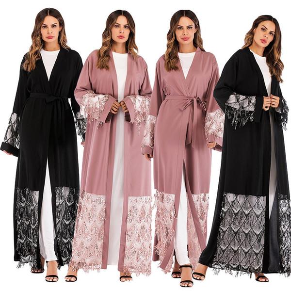 Abayas For Women Bangladesh Mesh Sequined Muslim Hijab Dress Jilbab Kaftan Abaya Turkey Robe Dubai Qatar UAE Islamic Clothing