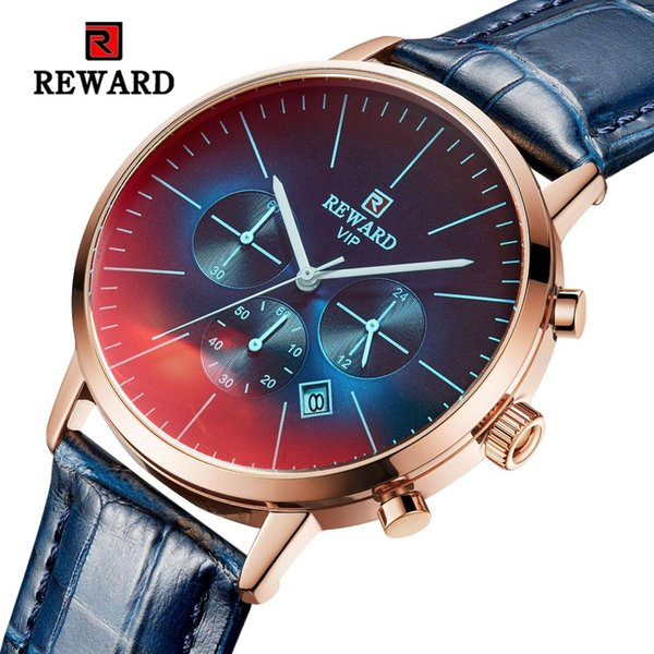 Top Brand Luxury Business Watch Men Waterproof Leather Wrist Watches Men Fashion Color Changing Colorful Glass Quartz Wristwatch