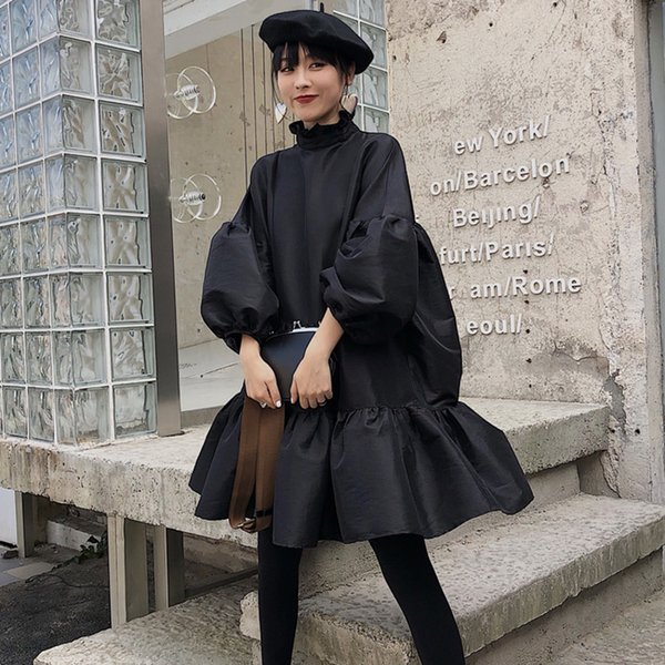 Lanmrem 2019 New Spring Fashion Women Clothing Turtleneck Lantern Sleeves Pleated Big Hem Stain Japan Styles Dress Jk85201s J190429