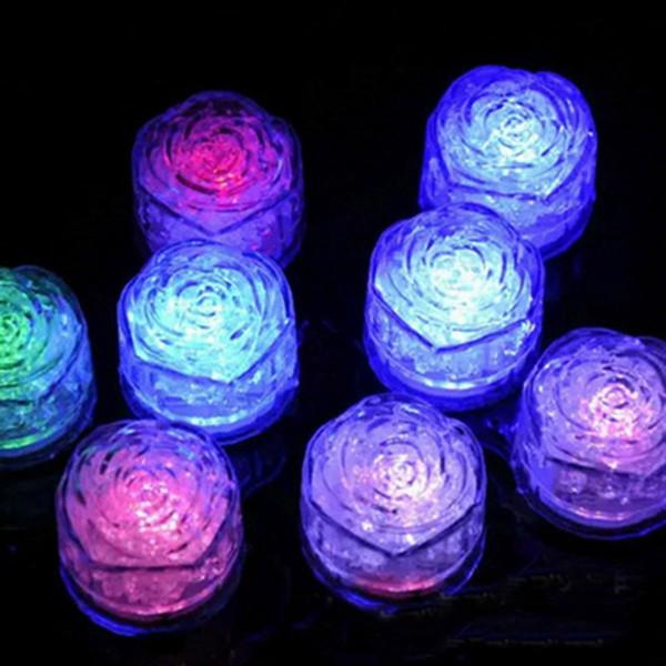 Rose del estilo LED del cubo de hielo de colores flash Mini romántico luminoso Cubo LED de luz artificial de hielo para la boda decoración de la fiesta de Navidad