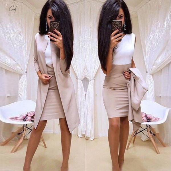 Señora de la oficina del vestido formal Trajes de negocios vaina larga de las mujeres chaqueta de la chaqueta del desgaste del vestido de 2 pedazos Sólido