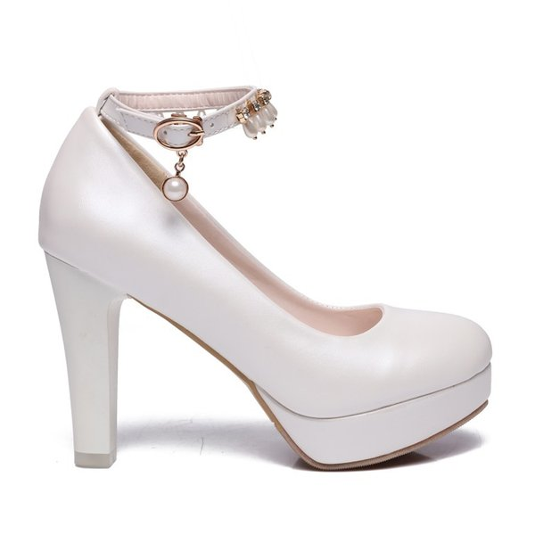 new popular Ankle Strap Platform Round Toe pumps 8cm Chunky high heels women bridal shoes wholesale china