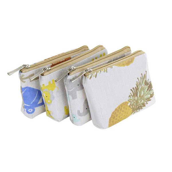 Women Casual Cartoon Cute Canvas Cosmetic Bag Card Holder Bag Key Bag Small Wallet for Coins F2320