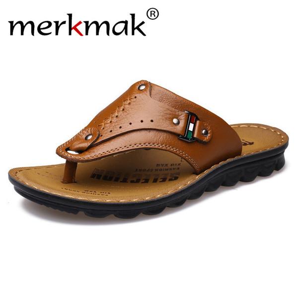 Merkmak Men Flip Flops Genuine Leather Slippers Summer Fashion Beach Sandals Casual Leisure Shoes for Man Soft Comfortable