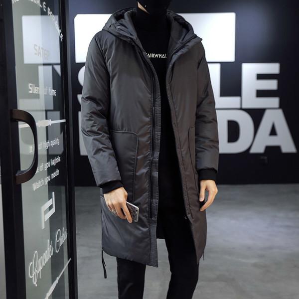 2018 Winter Man Trend Korean Edition Auch Hut lange Baumwolle gefütterte Kleidung verdickt große Größe lässig reine Farbe lose Mantel