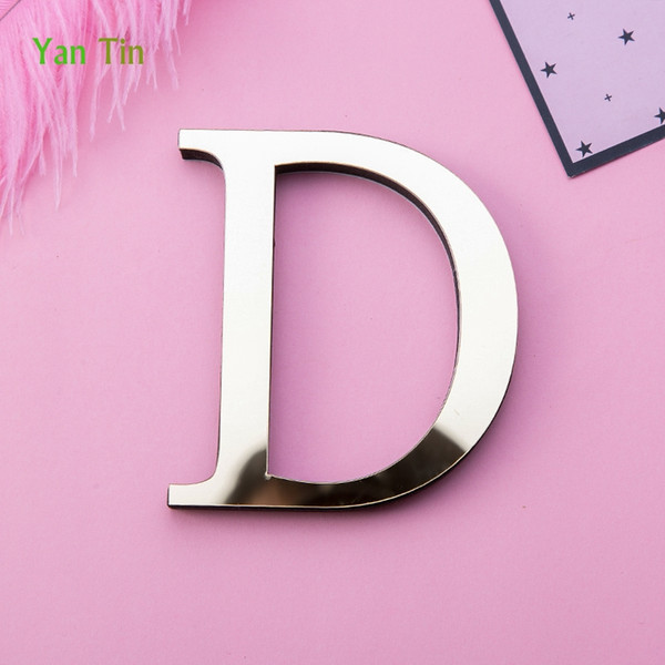 3set Customized Words 3D Gold English Letters Acrylic Mirror Surface Wall Stickes Wedding Party Alphabet DIY EVA Foam Art Wall Decals