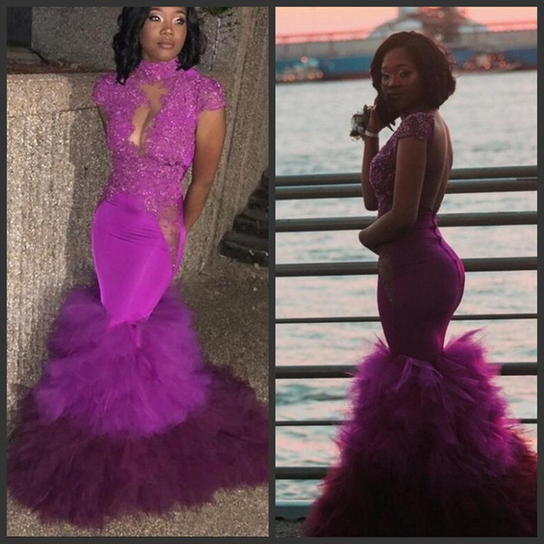 Charming Formal Evening Dresses High Neck Appliques Sexy Illusion Capped Short Sleeves Cocktail Party Gowns Feather Sweep Train Prom Dresses