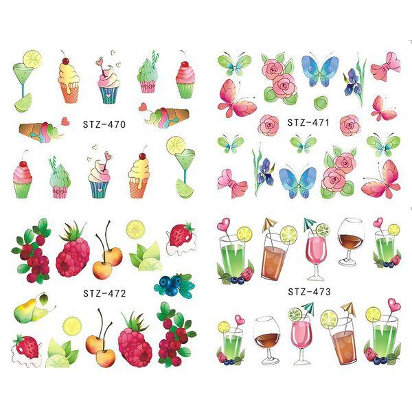 1pcs Nail Art Stickers Decal Water Transfer Charming Fruit Ice Cream Strawberry Summer Design Slider Wrap Tip Decor JISTZ470-473