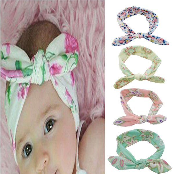 Big Bow Headband For baby girls flora Large Hair Bows Elastic Head Wraps Kids Top Knot Hairband Hair Accessories