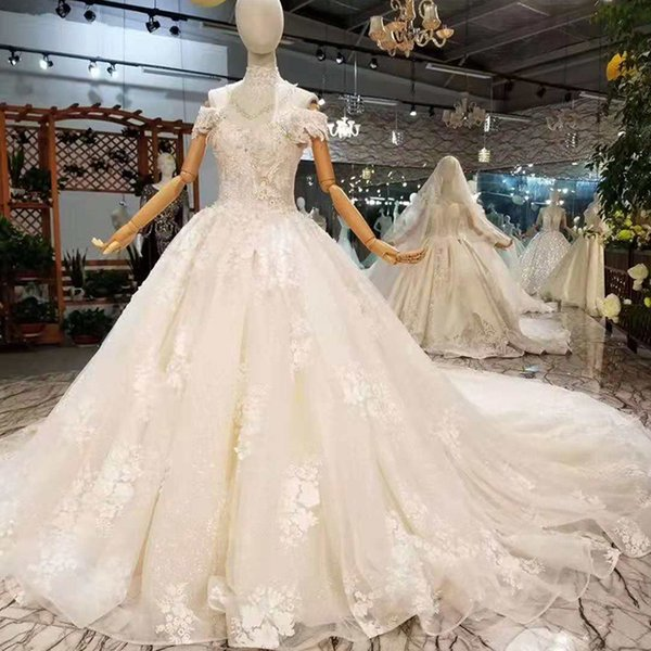 2019 Newest Design Wedding Dresses With Collar Chain Off The Shoulder Sweetheart Bride Dress With Royal Train Wholesalers Get Extra Discount