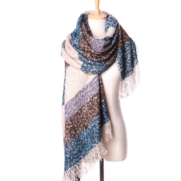 YJSFG HOUSE Women's Winter Scarves Stripe Patchwork Warm Mohair Scarf Long Size Lady Fashion Scarves Wrap Girl Shawl Tassel Wrap